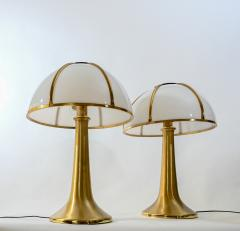 Gabriella Crespi Gabriella Crespi pair of Fungo brushed brass and Perspex table lamp - 1018042