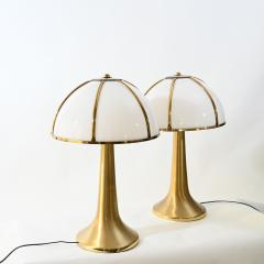 Gabriella Crespi Gabriella Crespi pair of Fungo brushed brass and Perspex table lamp - 1018044
