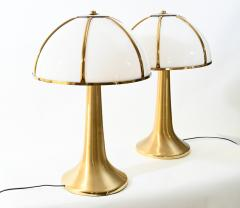 Gabriella Crespi Gabriella Crespi pair of Fungo brushed brass and Perspex table lamp - 1018046