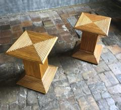 Gabriella Crespi Gabriella Crespi style pair of bamboo side or coffee table - 1186911