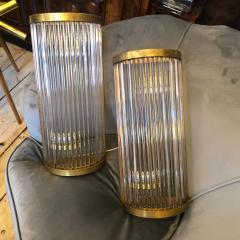Gabriella Crespi Set of two Mid Century Modern Brass and Glass Italian Wall Sconces circa 1970 - 2083639