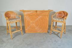 Gabriella Crespi Style Hollywood Regency Pencil Reed Dry Bar with Stools - 1920373