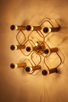 Gaetano Sciolari Brass 9 Light Sciolari Flush Mount Wall or Ceiling Lamp by Leola - 1190835