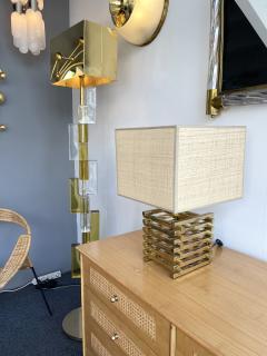 Gaetano Sciolari Brass Cage Lamp by Sciolari Italy 1970s - 1919145