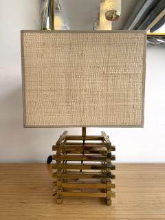 Gaetano Sciolari Brass Cage Lamp by Sciolari Italy 1970s - 1919146