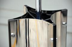 Gaetano Sciolari Chic Italian 70s Chrome Lamp with Custom Drum Shade by Gaetano Sciolari - 967111