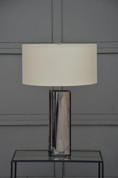 Gaetano Sciolari Chic Italian 70s Chrome Lamp with Custom Drum Shade by Gaetano Sciolari - 967112