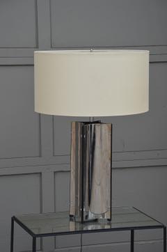 Gaetano Sciolari Chic Italian 70s Chrome Lamp with Custom Drum Shade by Gaetano Sciolari - 967113
