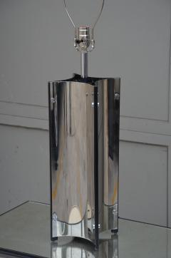 Gaetano Sciolari Chic Italian 70s Chrome Lamp with Custom Drum Shade by Gaetano Sciolari - 967114