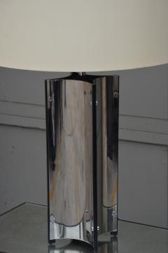Gaetano Sciolari Chic Italian 70s Chrome Lamp with Custom Drum Shade by Gaetano Sciolari - 967115