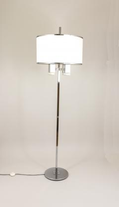 Gaetano Sciolari Chrome floor lamp with fabric shade by Gaetano Sciolari 1970s - 693530