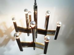 Gaetano Sciolari Elegant Midcentury Chrome and Brass Geometric Sciolari Chandelier - 1905326