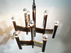 Gaetano Sciolari Elegant Midcentury Chrome and Brass Geometric Sciolari Chandelier - 2016942