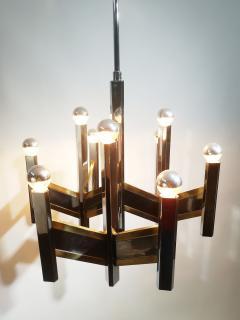 Gaetano Sciolari Elegant Midcentury Chrome and Brass Geometric Sciolari Chandelier - 2016944