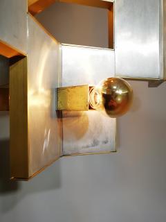 Gaetano Sciolari Elegant Sculptural Brass and Mirrored Metal Chandelier from Sciolari 1970s - 1905421