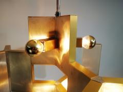 Gaetano Sciolari Elegant Sculptural Brass and Mirrored Metal Chandelier from Sciolari 1970s - 1905423