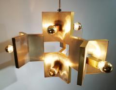 Gaetano Sciolari Elegant Sculptural Brass and Mirrored Metal Chandelier from Sciolari 1970s - 1905424