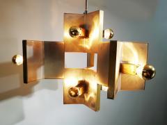 Gaetano Sciolari Elegant Sculptural Brass and Mirrored Metal Chandelier from Sciolari 1970s - 1905426