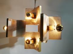 Gaetano Sciolari Elegant Sculptural Brass and Mirrored Metal Chandelier from Sciolari 1970s - 1905427