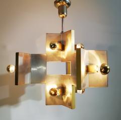 Gaetano Sciolari Elegant Sculptural Brass and Mirrored Metal Chandelier from Sciolari 1970s - 1905429