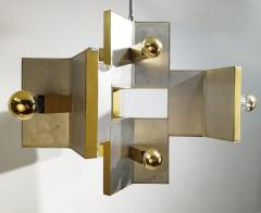 Gaetano Sciolari Elegant Sculptural Brass and Mirrored Metal Chandelier from Sciolari 1970s - 1905430
