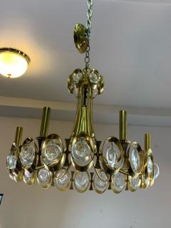 Gaetano Sciolari GAETANO SCIOLARI MODERNIST GOLDTONE AND GLASS PRISM CHANDELIER - 1177110