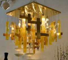 Gaetano Sciolari Gaetano Sciolari Brass Murano Glass Flush Mount Ceiling Fixture - 1095582