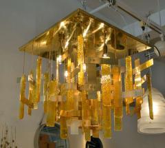 Gaetano Sciolari Gaetano Sciolari Brass Murano Glass Flush Mount Ceiling Fixture - 1095583