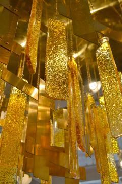 Gaetano Sciolari Gaetano Sciolari Brass Murano Glass Flush Mount Ceiling Fixture - 1095584