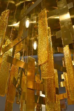 Gaetano Sciolari Gaetano Sciolari Brass Murano Glass Flush Mount Ceiling Fixture - 1095585