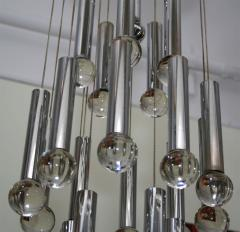 Gaetano Sciolari Gaetano Sciolari Chandelier With Chrome Tubes Crystal Balls - 597022