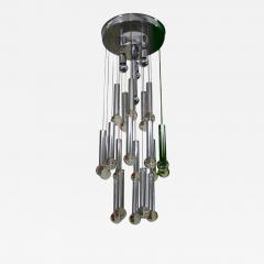 Gaetano Sciolari Gaetano Sciolari Chandelier With Chrome Tubes Crystal Balls - 597448