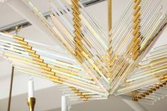Gaetano Sciolari Gaetano Sciolari Iridescent Rod and Gold Plated Chandelier - 2132942