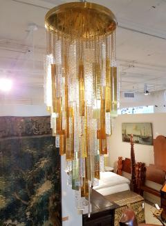 Gaetano Sciolari Large Brass Murano Glass Pendants Chandelier attr to Sciolari 1970s - 631276