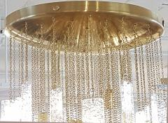 Gaetano Sciolari Large Brass Murano Glass Pendants Chandelier attr to Sciolari 1970s - 631277