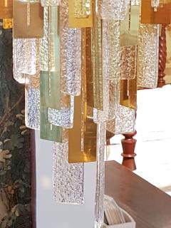 Gaetano Sciolari Large Brass Murano Glass Pendants Chandelier attr to Sciolari 1970s - 631278
