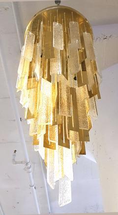Gaetano Sciolari Large Brass Murano Glass Pendants Chandelier attr to Sciolari 1970s - 631279
