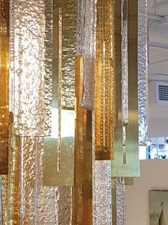 Gaetano Sciolari Large Brass Murano Glass Pendants Chandelier attr to Sciolari 1970s - 631280