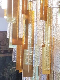 Gaetano Sciolari Large Brass Murano Glass Pendants Chandelier attr to Sciolari 1970s - 631281