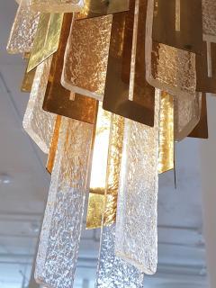 Gaetano Sciolari Large Brass Murano Glass Pendants Chandelier attr to Sciolari 1970s - 631282