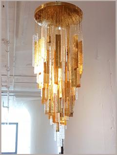 Gaetano Sciolari Large Brass Murano Glass Pendants Chandelier attr to Sciolari 1970s - 631284