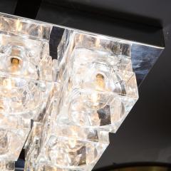 Gaetano Sciolari Mid Century Modern Nine Cube Chrome Glass Flush Mount Chandelier by Sciolari - 2050544