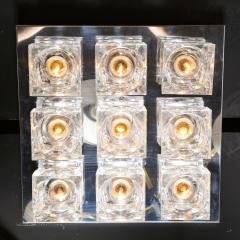 Gaetano Sciolari Mid Century Modern Nine Cube Chrome Glass Flush Mount Chandelier by Sciolari - 2050548