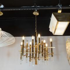 Gaetano Sciolari Mid Century Modern Rectilinear Polished Brass and Lucite Chandelier by Sciolari - 1459781
