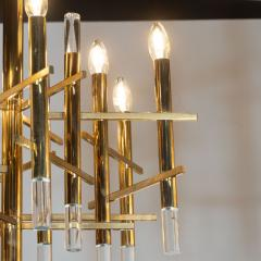 Gaetano Sciolari Mid Century Modern Rectilinear Polished Brass and Lucite Chandelier by Sciolari - 1459783