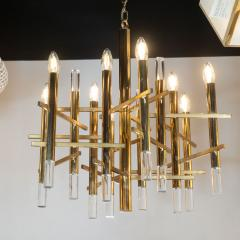 Gaetano Sciolari Mid Century Modern Rectilinear Polished Brass and Lucite Chandelier by Sciolari - 1459784