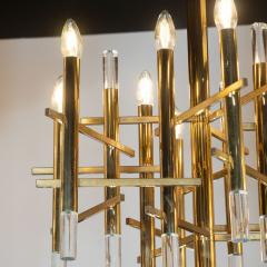Gaetano Sciolari Mid Century Modern Rectilinear Polished Brass and Lucite Chandelier by Sciolari - 1459787