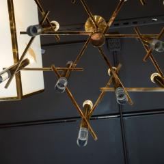 Gaetano Sciolari Mid Century Modern Rectilinear Polished Brass and Lucite Chandelier by Sciolari - 1459807
