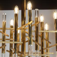 Gaetano Sciolari Mid Century Modern Rectilinear Polished Brass and Lucite Chandelier by Sciolari - 1459808