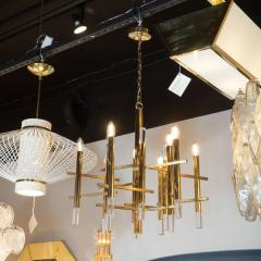 Gaetano Sciolari Mid Century Modern Rectilinear Polished Brass and Lucite Chandelier by Sciolari - 1459810